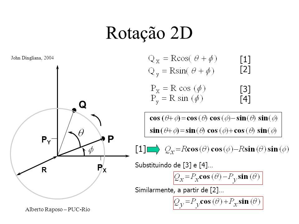 Rotação 2D Q P [1] [2] [3] [4] PY [1] PX R Substituindo de [3] e [4]…